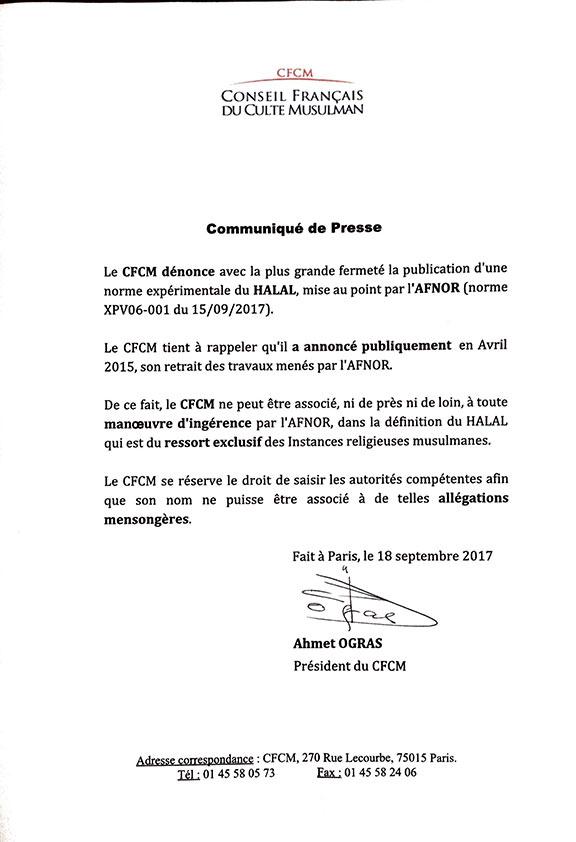 CFCM communiqué Norme Afnor