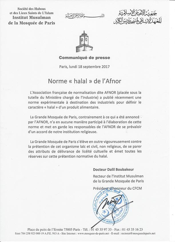 GMP communiqué Norme Afnor