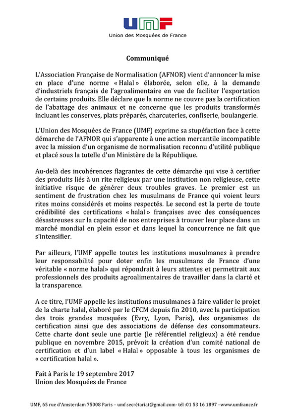UMF communiqué Norme Afnor